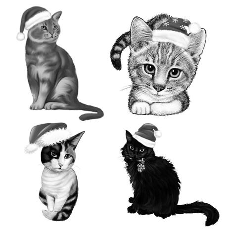 Full Body Christmas Cats Caricature Portrait in Black and White Style - example