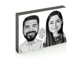 Business Partners Caricature on photo block