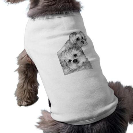 Dogs Caricature Drawing on Pet Shirt - example