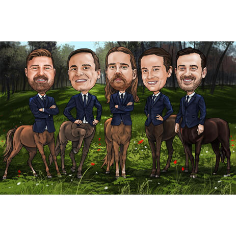 Centaurs Group Caricature in Colored Style for Funny Custom Gift - example