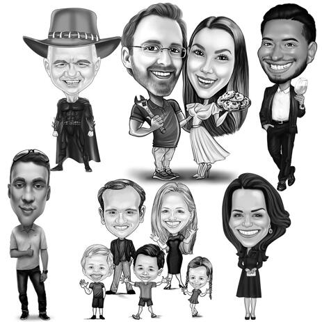 Full Body Caricature from Photos in Black and White Style - example