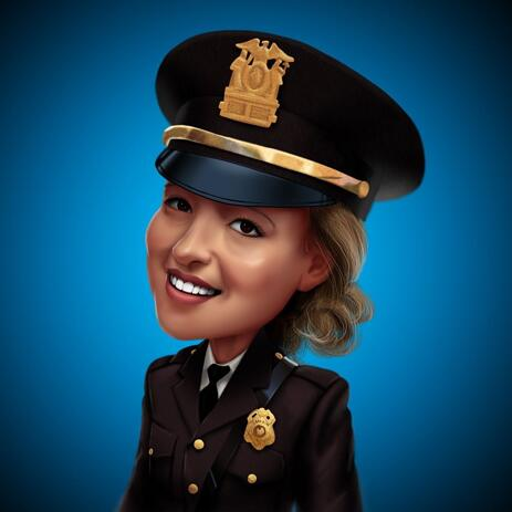 Policewoman Caricature from Photos with Colored Background - example