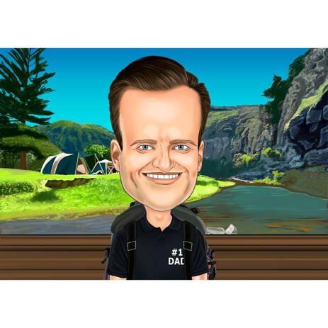 Man Traveler Caricature with Nature Background from Photo - example