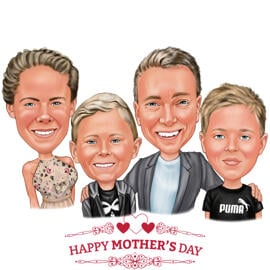 Family Caricature for Mother's Day Gift