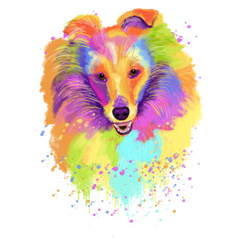 Watercolor Pastel Style Collie Portrait Caricature Drawing from Photos - example