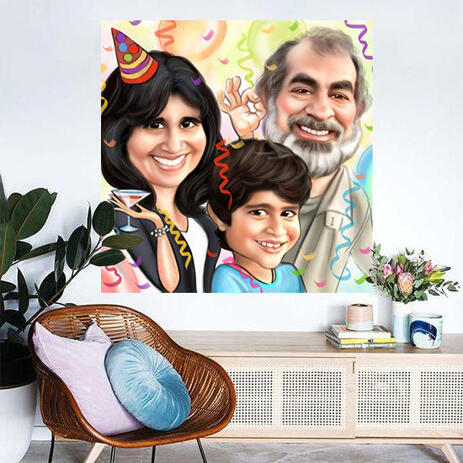 Colored Family Cartoon Caricature Printed on Canvas for Custom Gift - example