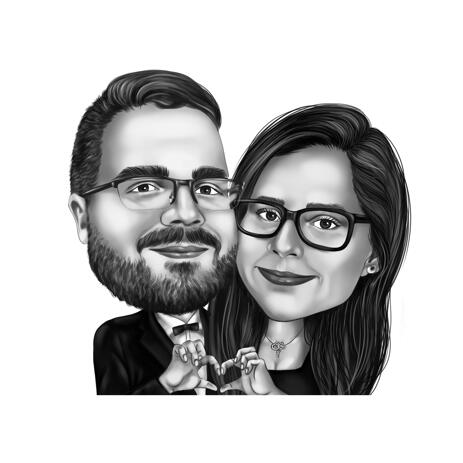 Romantic Couple Caricature with Heart Fingers Sign - example