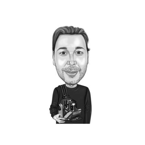 Uomo in bianco e nero con strumenti Caricatura del fumetto per regalo tuttofare - example
