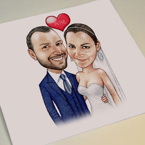 Printed Bride and Groom Caricature on Poster - example