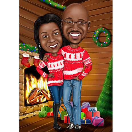 Romantic Couple Caricature in Ugly Sweaters and Fireplace Background - example