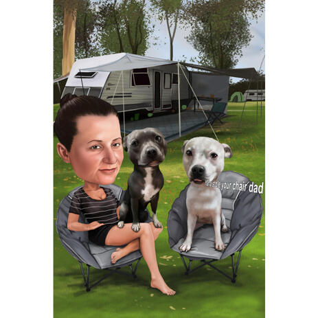 Persona con animali domestici tenda da campeggio Cartoon con camper in background - example