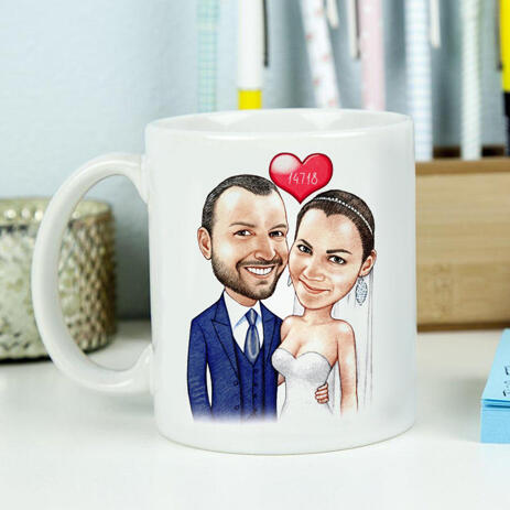 Just Married Caricature Printed on Mug - example