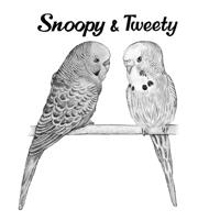 Parrots Cartoon Portrait in Monochrome Style Hand-Drawn from Personalized Photos