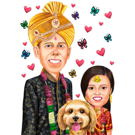 Head and Shoulders Colored Style Indian Couple with Pet in Traditional Clothes Caricature Portrait from Photos - example