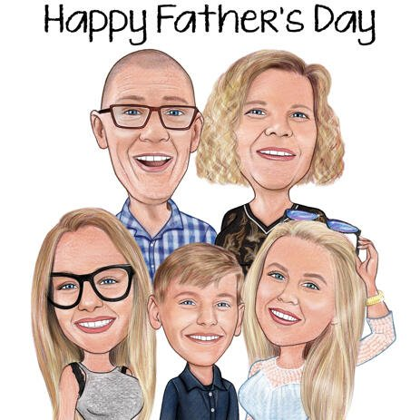 Customized Pencils Family Cartoon Drawing from Photo - example