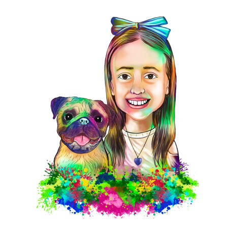 Kid with Pugby Caricature Portrait from Photos in Watercolor Style - example