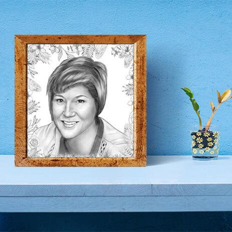 Personalized Poster Print: Custom Mother's Day  Portrait Drawing from Photo - example