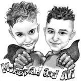 Children Cartoon Drawing from Photo featuring Superhero Costumes