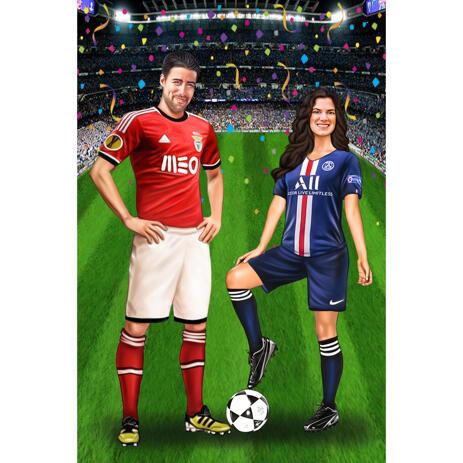 Pár portrétů celého těla Kreslení z fotografií pro fotbalové fotbalové hráče jako dárek - example
