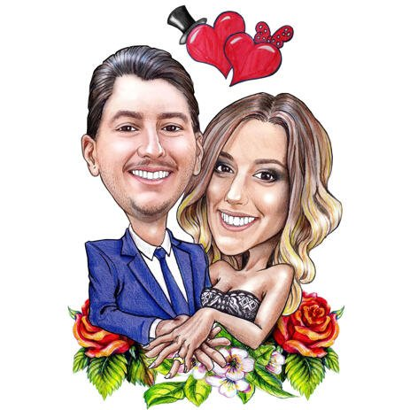 Engagement Caricature with Floral Ornaments for Anniversary Gift - example