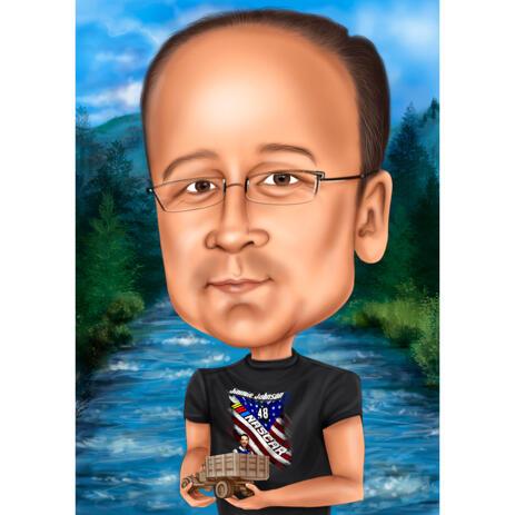Exaggerated Caricature of Person in Colored Style with River Background - example