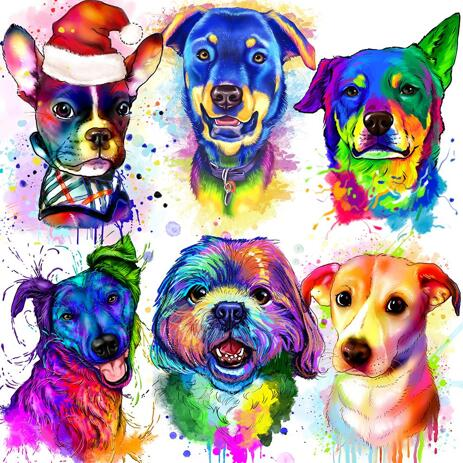 Watercolor Rainbow Dog Portrait in Digital Style - example