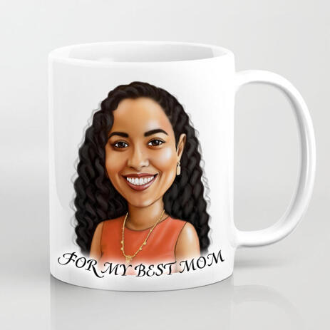 Print on Mug: Custom Print on Mug with Personalized Portrait Drawing - example