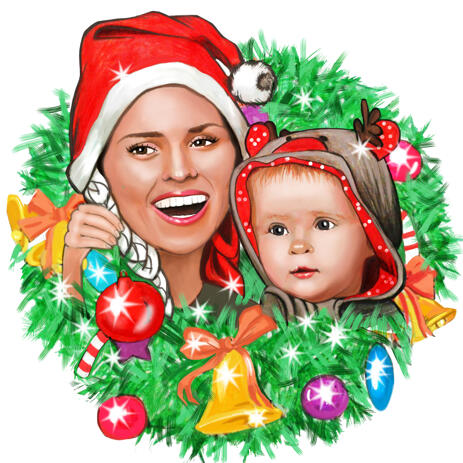 Christmas Kid Karicature fra Photo in Christmas Wreath - example