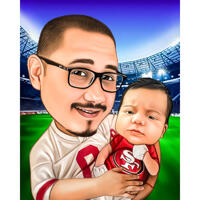 Far med baby tegneserie karikatur fra fotos til fodboldfan gave