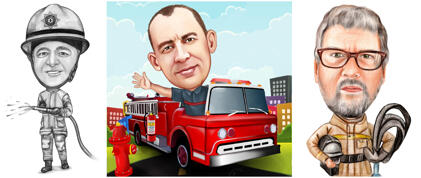 Firefighter Caricature