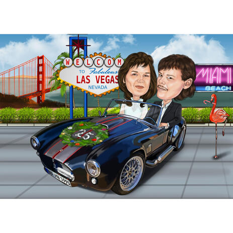 Anniversary Couple Caricature in Car and Custom Background - example