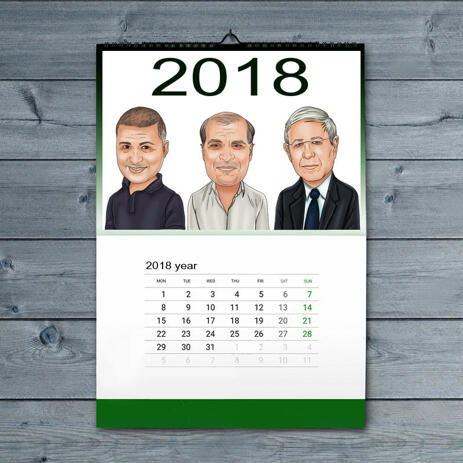 Corporate Group Caricature on Calendar - example