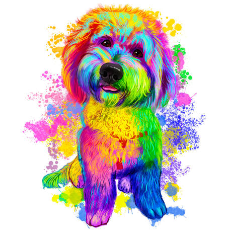 Full Body Rainbow Watercolor Bichon Maltaise Portrait Picture from Photos - example