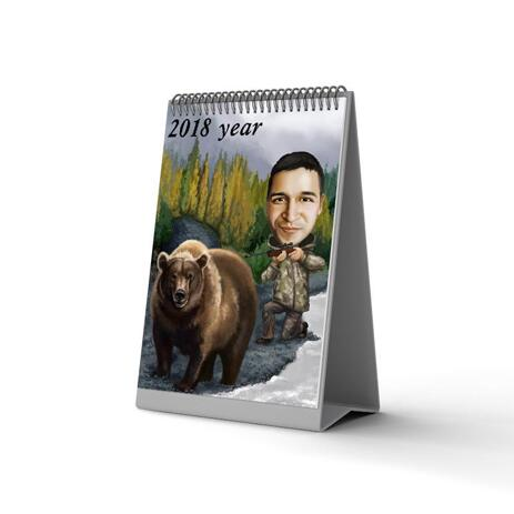 Man with Pet Caricature Calendar - example