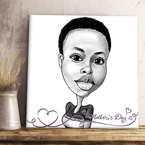 Print on Canvas: Caricature Drawing from Photo with Text - example