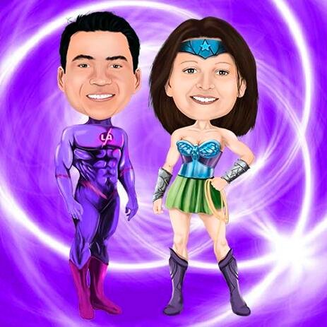 Superhero Couple Caricature from Photos with Custom Background - example