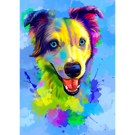 Australian Shepherd Caricature Portrait in Watercolor Style with One Color Background - example