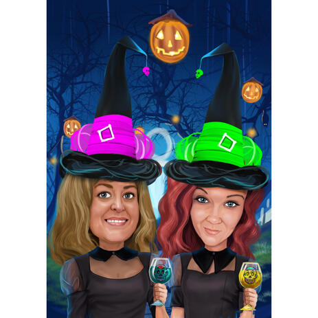 Two Persons Colored Caricature with Custom Background for Halloween Gift - example