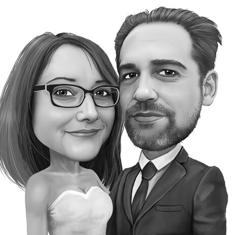 Bride and Groom Caricature from Photo in Black and White Style - example