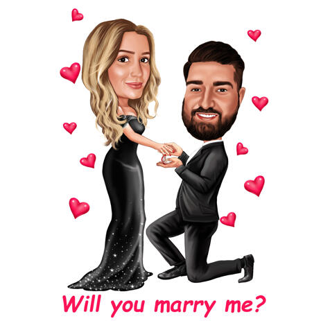 Will You Marry Me Caricature of Couple in Romantic Color Style - example