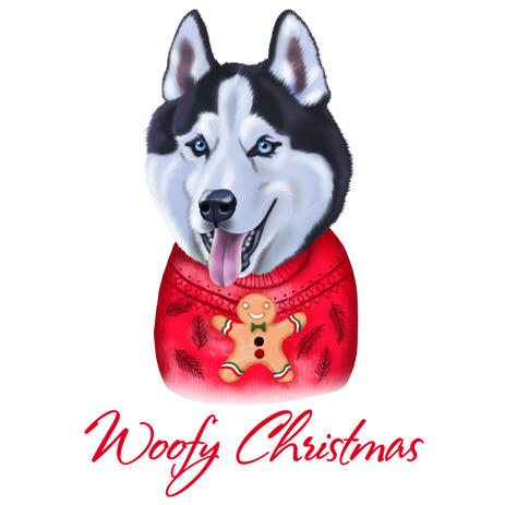 Husky Caricature from Photo in Color Digital Style for Christmas Pet Lover Gift - example