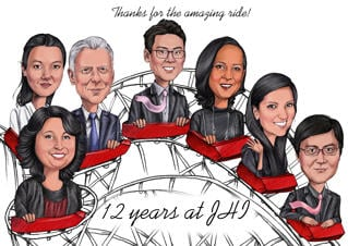 Farewell Group Caricature from Photos