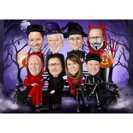 Halloween Group Caricature in Full Body Color Style on Custom Background - example