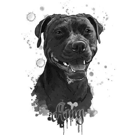 Grafit portræt af Staffordshire Terrier hund fra fotos - example