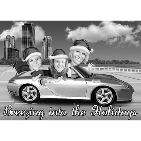 Family in Car with Santa's Hats for Christmas Card Drawing - example