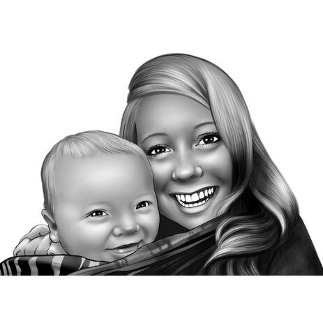 Mama cu bebeluș Portret din fotografii - example
