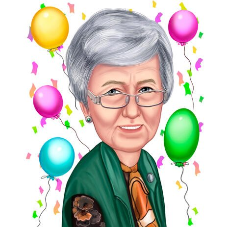 Caricature for Grandma in Color Style for Birthday Gift - example
