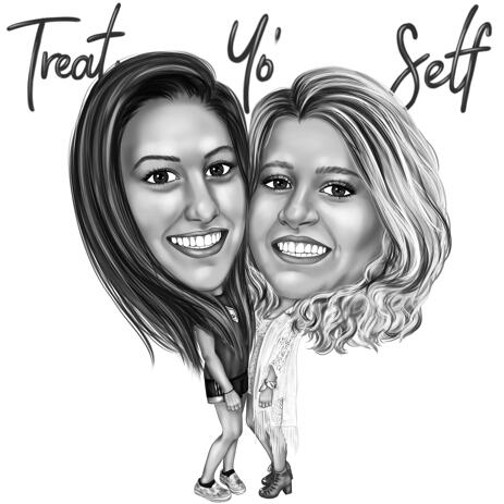 Two Persons Cartoon Portrait from Photos -  Gift for Friends Hand Drawn Digital Caricature - example