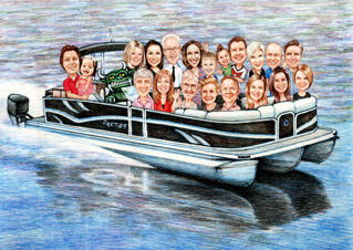 Group on Boat Caricature Drawing