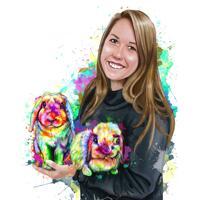 Ägare med kaniner porträttritning i akvarellstil från foton